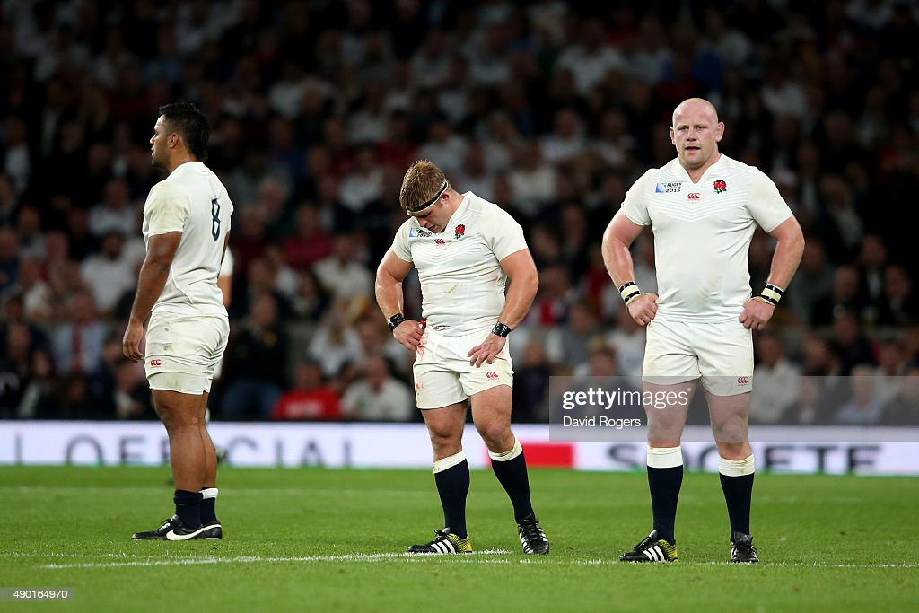 Billy Vunipola Tom Youngs and Dan Cole of England look dejected during the 2015 Rugby World Cup Pool A match between England and Wales at Twickenham...