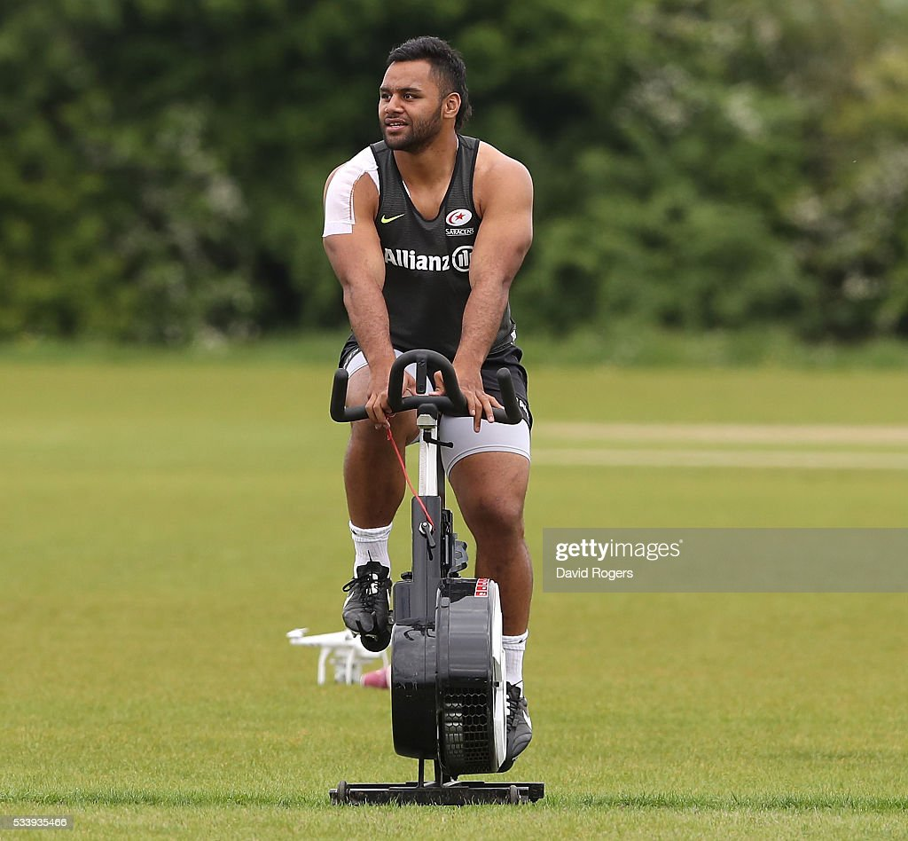Billy Vunipola warms up on a bike during the Saracens training session held on May 24, 2016 in St Albans, England.
