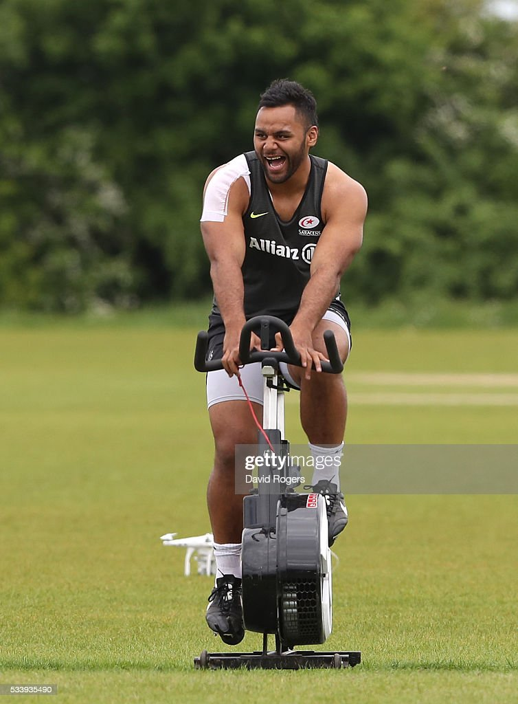 <a gi-track='captionPersonalityLinkClicked' href=/galleries/search?phrase=Billy+Vunipola&family=editorial&specificpeople=5771576 ng-click='$event.stopPropagation()'>Billy Vunipola</a> warms up on a bike during the Saracens training session held on May 24, 2016 in St Albans, England.
