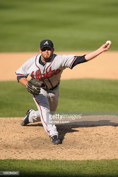 Billy Wagner of the Atlanta Braves pitches during a baseball game against the Washington Nationals on September 25 2010 at Nationals Park in...