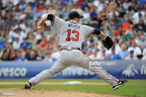 Billy Wagner of the Atlanta Braves pitches during the game between the Atlanta Braves and the Chicago Cubs on Friday August 20 at Wrigley Field in...