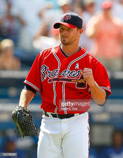 Billy Wagner of the Atlanta Braves reacts after closing out the Kansas City Royals in the ninth inning for a 85 win at Turner Field on June 20 2010...