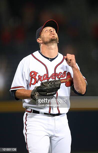 Billy Wagner of the Atlanta Braves reacts after the final out of the game against the Philadelphia Phillies at Turner Field on June 1 2010 in Atlanta...