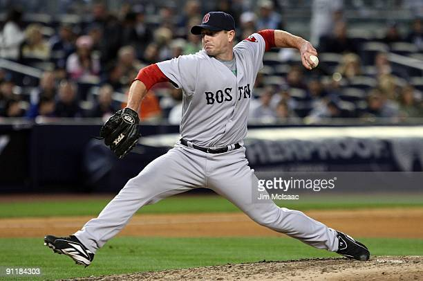 Billy Wagner of the Boston Red Sox throws a pitch against the New York Yankees on September 26 2009 at Yankee Stadium in the Bronx borough of New...