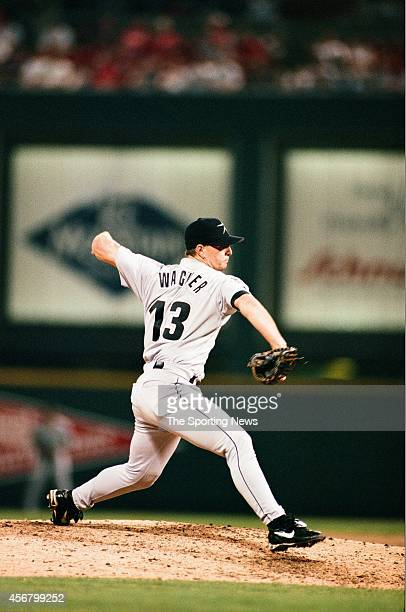 Billy Wagner of the Houston Astros pitches against the St Louis Cardinals at Busch Stadium on July 23 1997 in St Louis Missouri