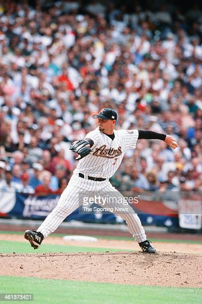 Billy Wagner of the Houston Astros pitches during Game One of the National League Division Series against the Atlanta Braves on October 9 2001 at...