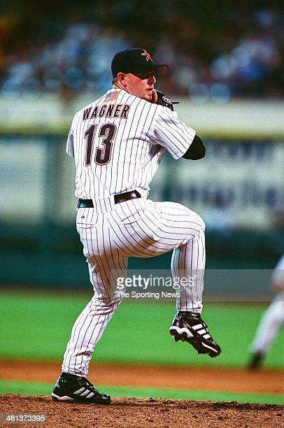 Billy Wagner of the Houston Astros pitches during Game Two of the National League Division Series against the Atlanta Braves on October 10 2001 at...