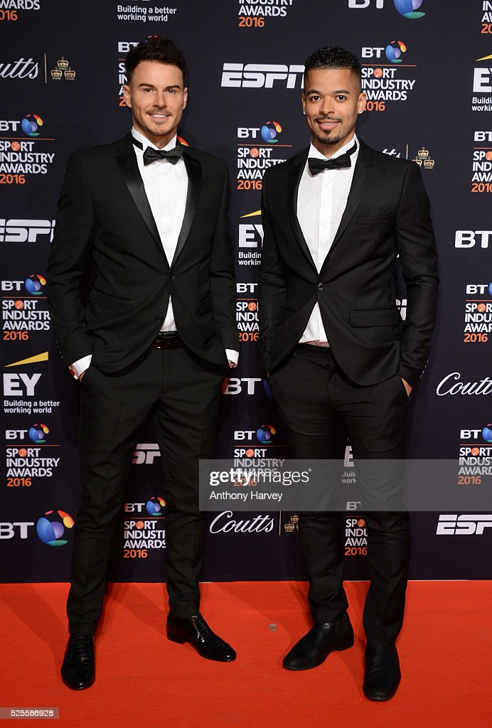 Billy Wingrove and Jeremie Lynch pose on the red carpet at the BT Sport Industry Awards 2016 at Battersea Evolution on April 28, 2016 in London, England. The BT Sport Industry Awards is the most prestigious commercial sports awards ceremony in Europe, where over 1750 of the industry's key decision-makers mix with high profile sporting celebrities for the most important networking occasion in the sport business calendar.