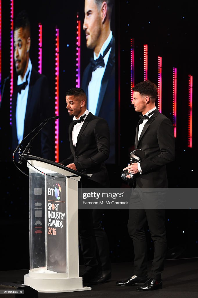 Billy Wingrove and Jeremie Lynch present the Digital Platform of the Year award to AELTC Wimbledon.com at the BT Sport Industry Awards 2016 at Battersea Evolution on April 28, 2016 in London, England. The BT Sport Industry Awards is the most prestigious commercial sports awards ceremony in Europe, where over 1750 of the industry's key decision-makers mix with high profile sporting celebrities for the most important networking occasion in the sport business calendar.