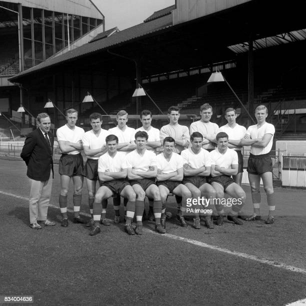 Billy Wright newly appointed manager of Arsenal with the Under23 players he is preparing for the match against Turkey Left to right back row Billy...