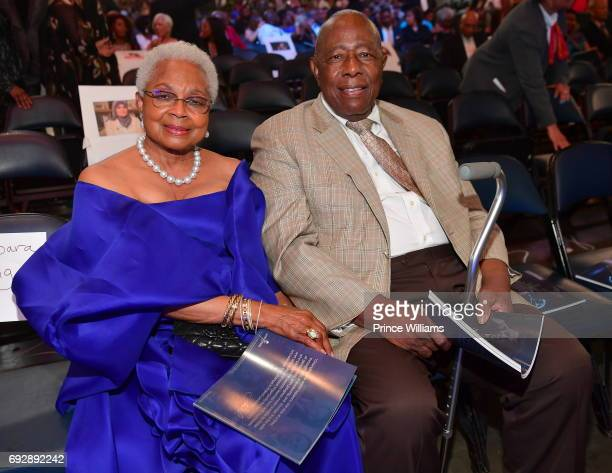 Billye Aaron and Hank Aaron attend the 2017 Andrew Young International Leadership awards and 85th Birthday tribute at Philips Arena on June 3 2017 in...