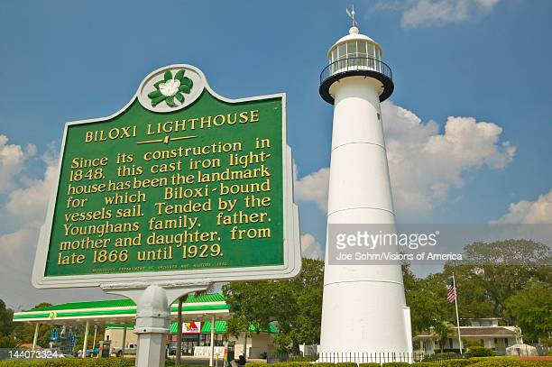Biloxi Lighthouse and information sign in Biloxi MS