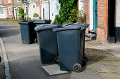 Wheelie bins obstructing a pavement in a village