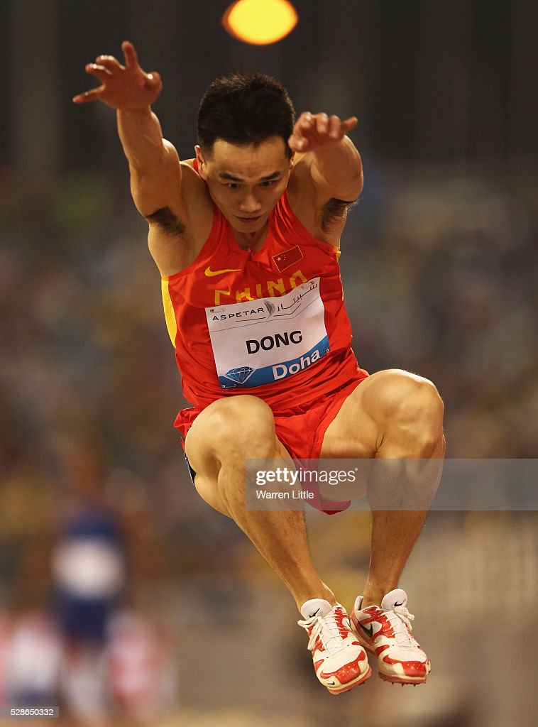 Bin Dong of China competes in the Men's Triple Jump final during the Doha IAAF Diamond League 2016 meeting at Qatar Sports Club on May 6, 2016 in Doha, Qatar.