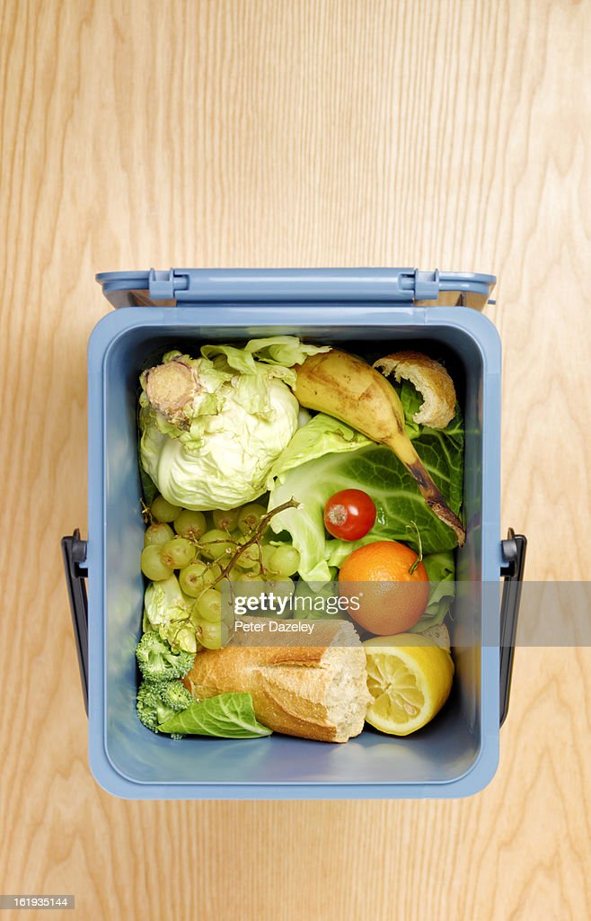 Bin filled with food waste