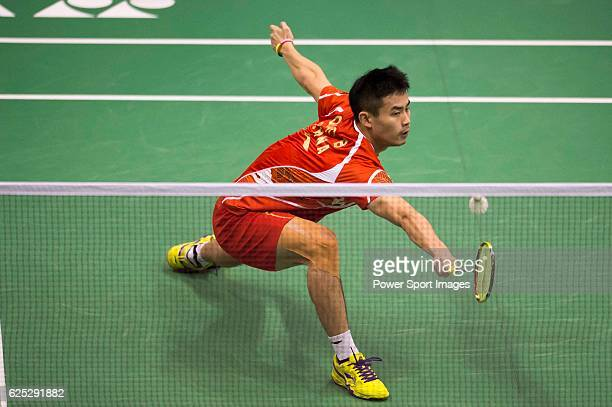 Bin of China in action while playing against PRANNOY HS of India during the 2016 Hong Kong Open Badminton Championships at the Hong Kong Coliseum on...