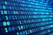 Information technology concept, blue digital data on computer screen