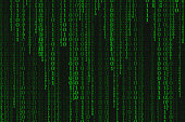 Binary code black and green background with digits on screen, Concept of digital age. Algorithm binary, data code, decryption and encoding, row matrix, illustration background.