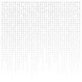 Binary code black and white background with digits on screen. Algorithm binary, data code, decryption and encoding, row matrix.