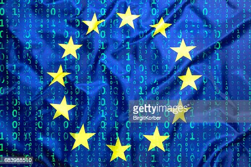 Binary code with European Union flag : Stock Photo