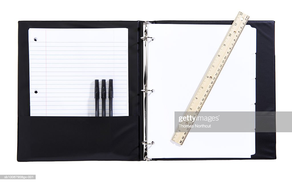 Bind with school supplies on white background : Stock Photo