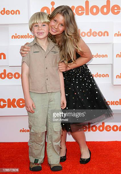 Bindi Irwin and Bob Irwin arrive at the 2011 Nickelodeon Kid's Choice Awards at the Sydney Entertainment Centre on October 7 2011 in Sydney Australia