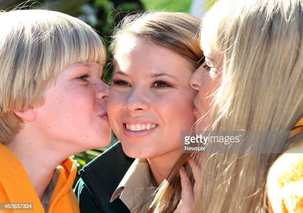 Bindi Irwin celebrates her 16th birthday with her mother Terri Irwin and brother Bob Irwin at Australia Zoo on July 24 2014 in Beerwah on the...
