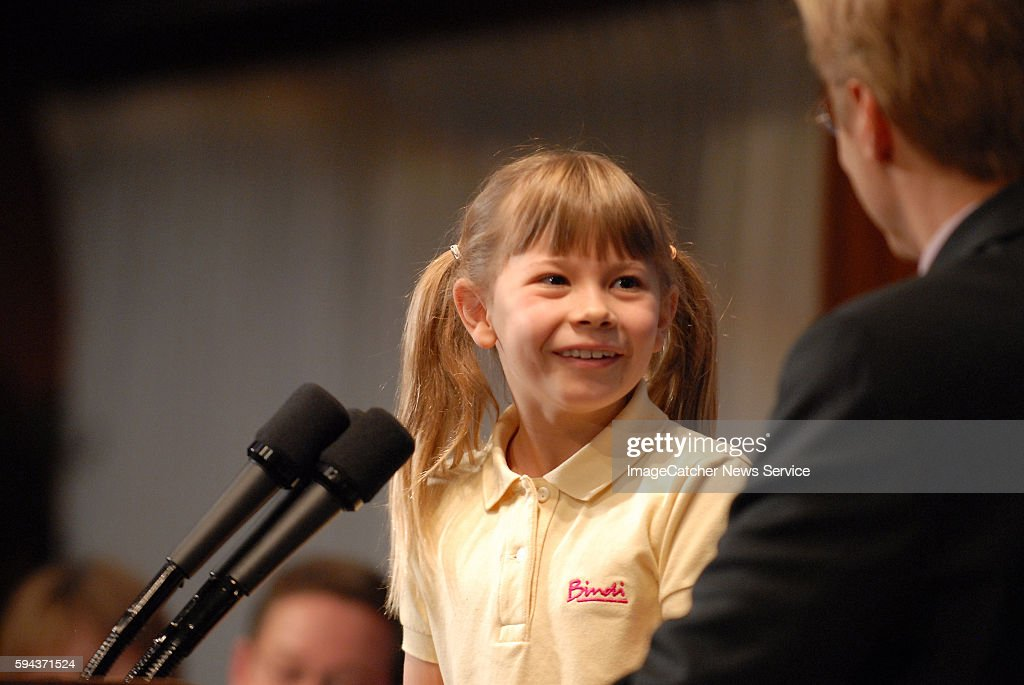 Bindi Irwin daughter of the late Crocodile Hunter Steve Irwin responds to a question during a luncheon press conference at the National Press Club in...