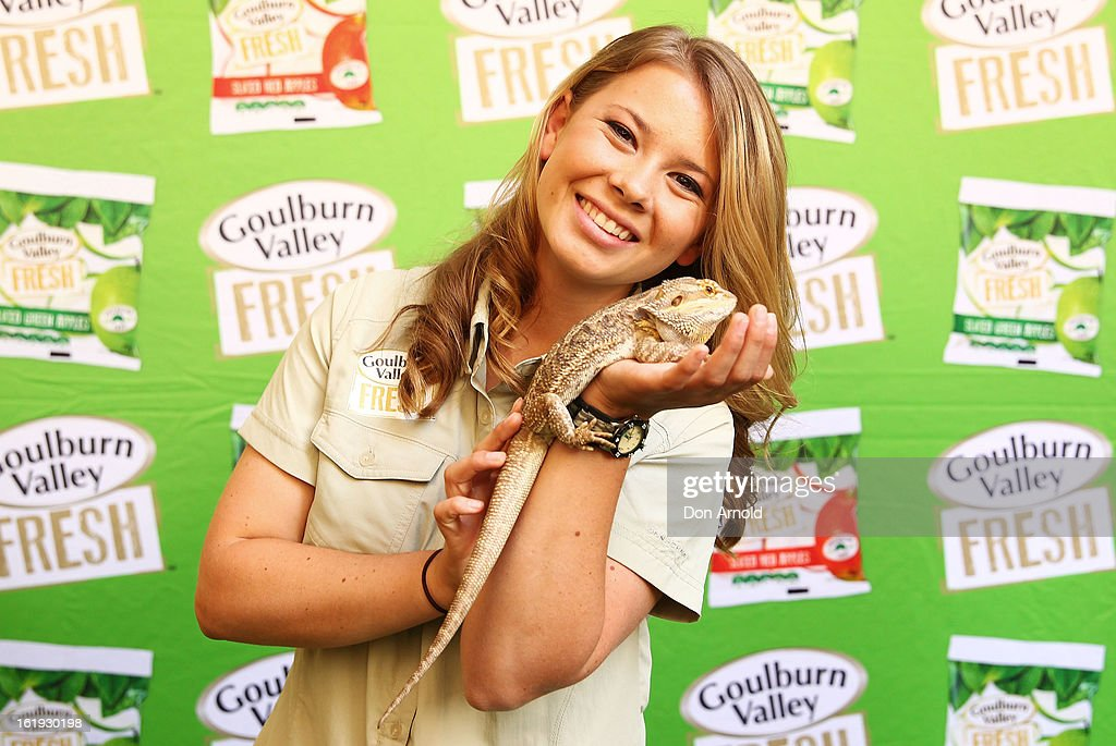 Bindi Irwin poses with a pet lizard during the Goulburn Valley Fresh launch at Martin Place on February 18, 2013 in Sydney, Australia.