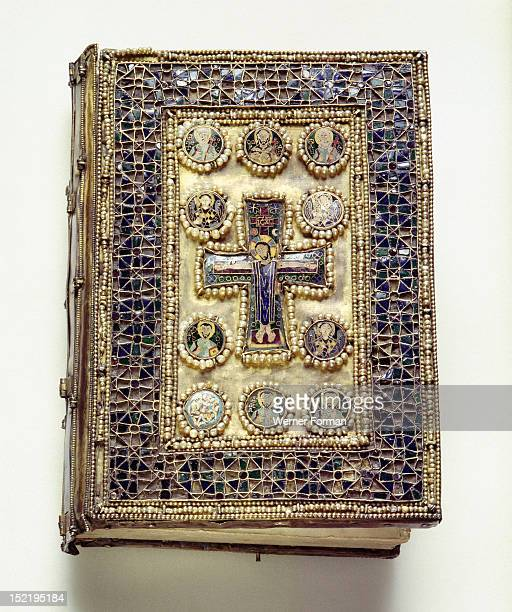 A binding of a liturgical book which is richly encrusted with enamels and pearls This book cover was almost certainly looted in the Fourth Crusade of...