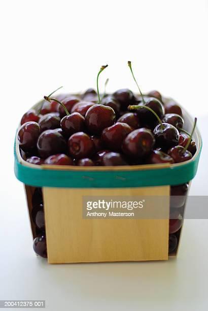 Bing cherries in wooden basket