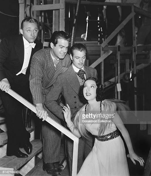 Bing Crosby Fred MacMurray Gary Cooper and Ethel Merman in a scene from the movie 'Anything Goes' which was released in 1936