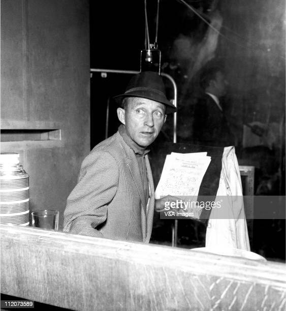 Bing Crosby singing in recording studio 1962