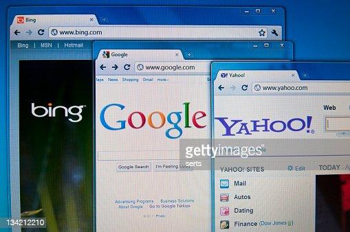 Bing, Google and Yahoo sites on Lcd screen
