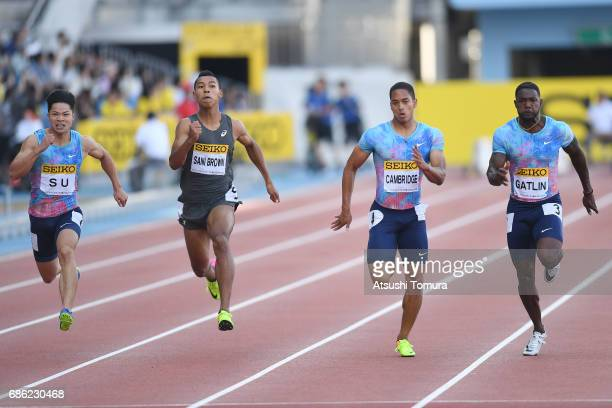 Bingtian Su of China Abdul Hakim Sani Brown of Japan Aska Cambridge of Japan and Justin Gatlin of the USA compete in the Men's 100m during the SEIKO...