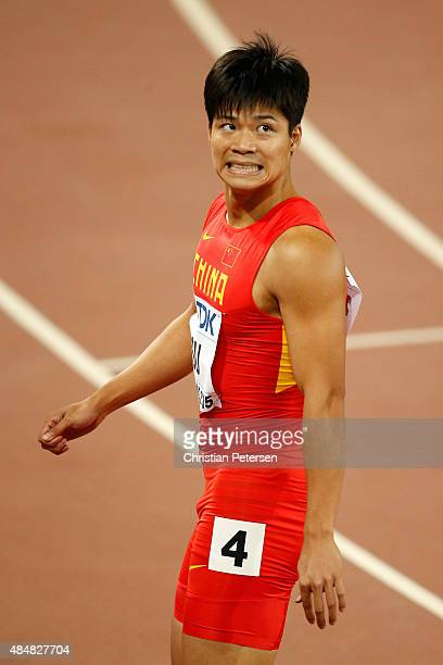 Bingtian Su of China reacts after competing in the Men's 100 metres heats during day one of the 15th IAAF World Athletics Championships Beijing 2015...