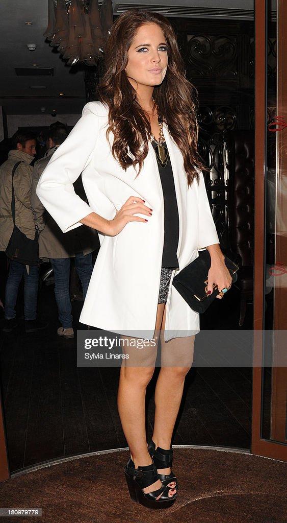 Binky Felstead leaving Sanctum Hotel on September 18, 2013 in London, England.
