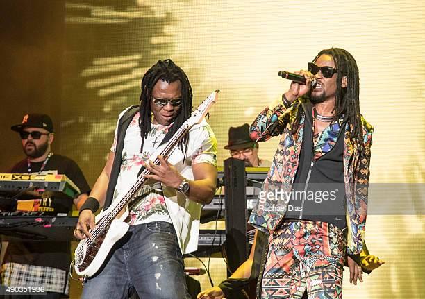 Bino Farias and Toni Garrido from Cidade Negra performs at 2015 Rock in Rio on September 27 2015 in Rio de Janeiro Brazil