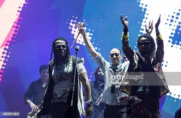 Bino Farias Lazao and Toni Garrido from Cidade Negra performs at 2015 Rock in Rio on September 27 2015 in Rio de Janeiro Brazil