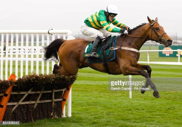 Binocular and Tony McCoy jump the last on their way to way the John Smith's 250th Anniversary 4 year old novices hurdle during the Grand National...