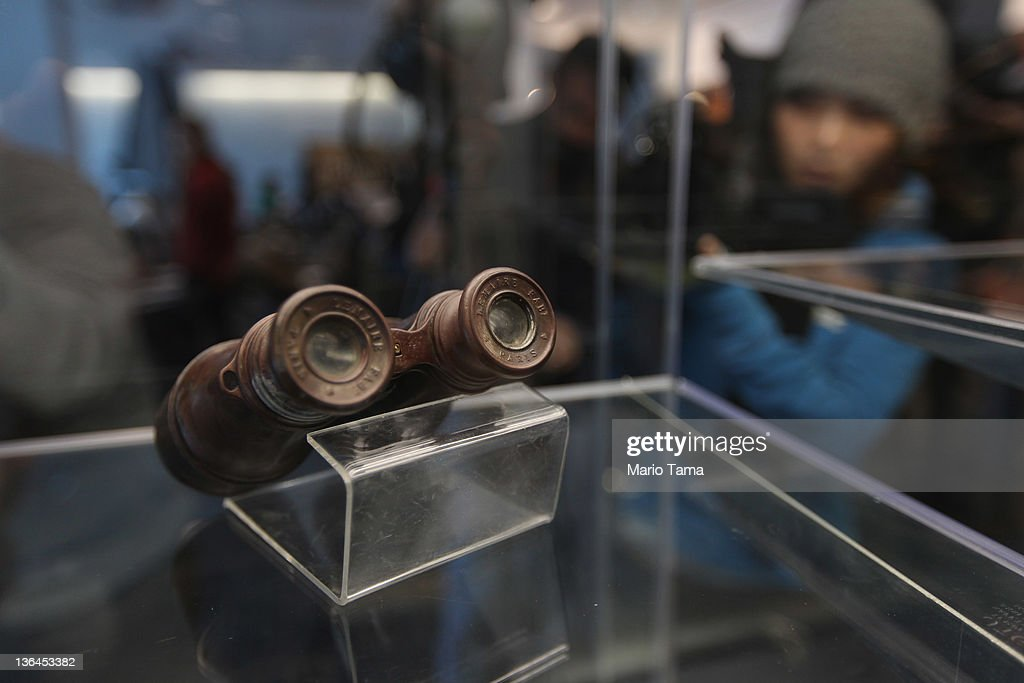 Binoculars are seen among artifacts recovered from the RMS Titanic wreck site at a press preview of a Titanic artifact auction at the Intrepid Sea, Air & Space Museum on January 5, 2012 in New York City. On April 11, 2012, the 100th anniversary of the maiden voyage of the Titanic, Guernsey's will auction the complete collection of more than 5,000 artifacts recovered from the Titanic wreck site.