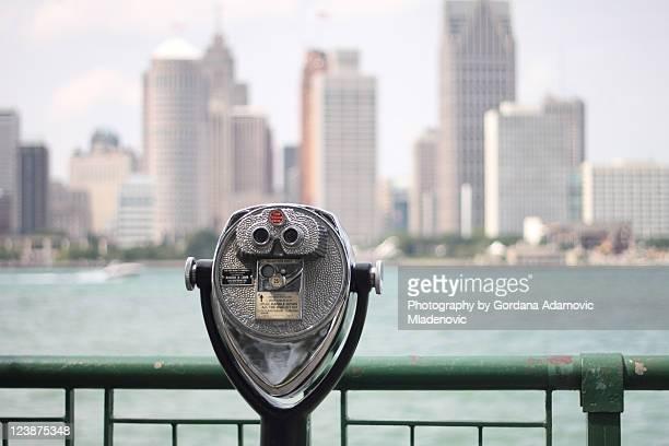 Binoculars horizontal view of Detroit