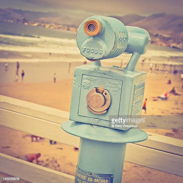Binoculars on beach pier
