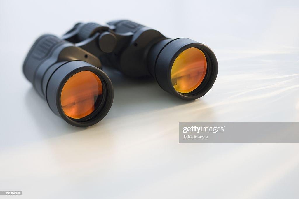 Binoculars on table