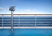 Binoclars watching at horizon at ship deck