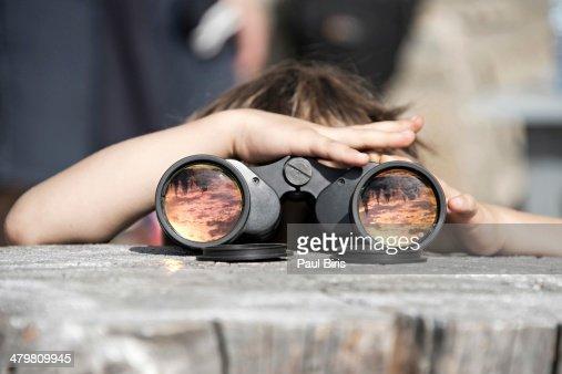 Binoculars Reflections Ceahlau Massif