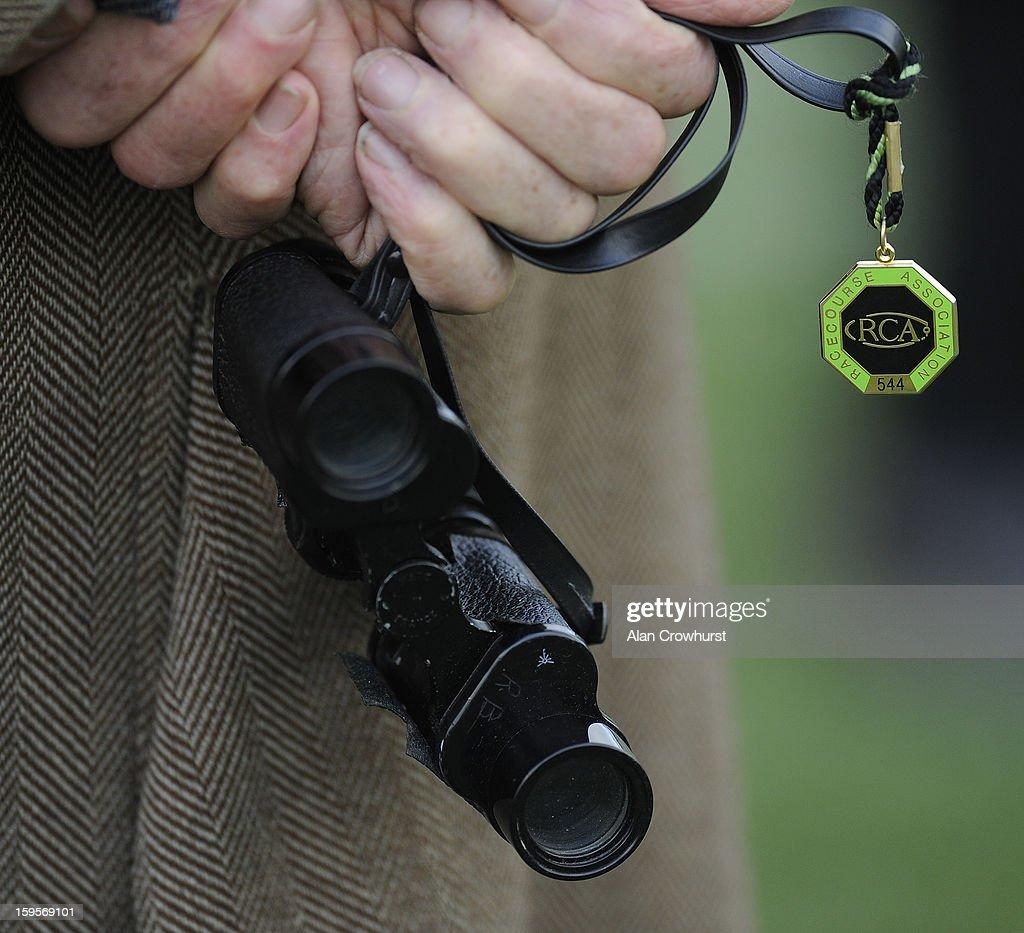 Binoculars with an RCA badge at Newbury racecourse on January 16, 2013 in Newbury, England.