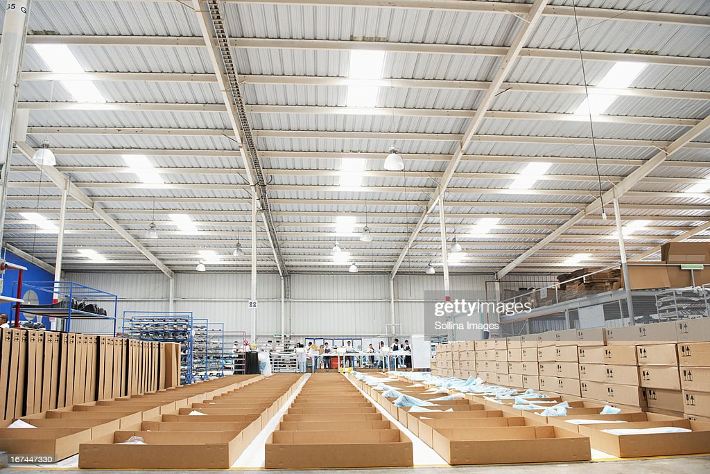 Bins in manufacturing plant : Stock Photo