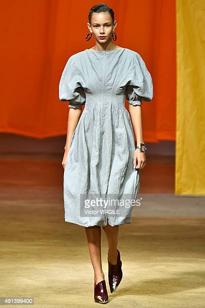 Binx Walton walks the runway during the Celine Ready to Wear show as part of the Paris Fashion Week Womenswear Spring/Summer 2016 on October 4 2015...