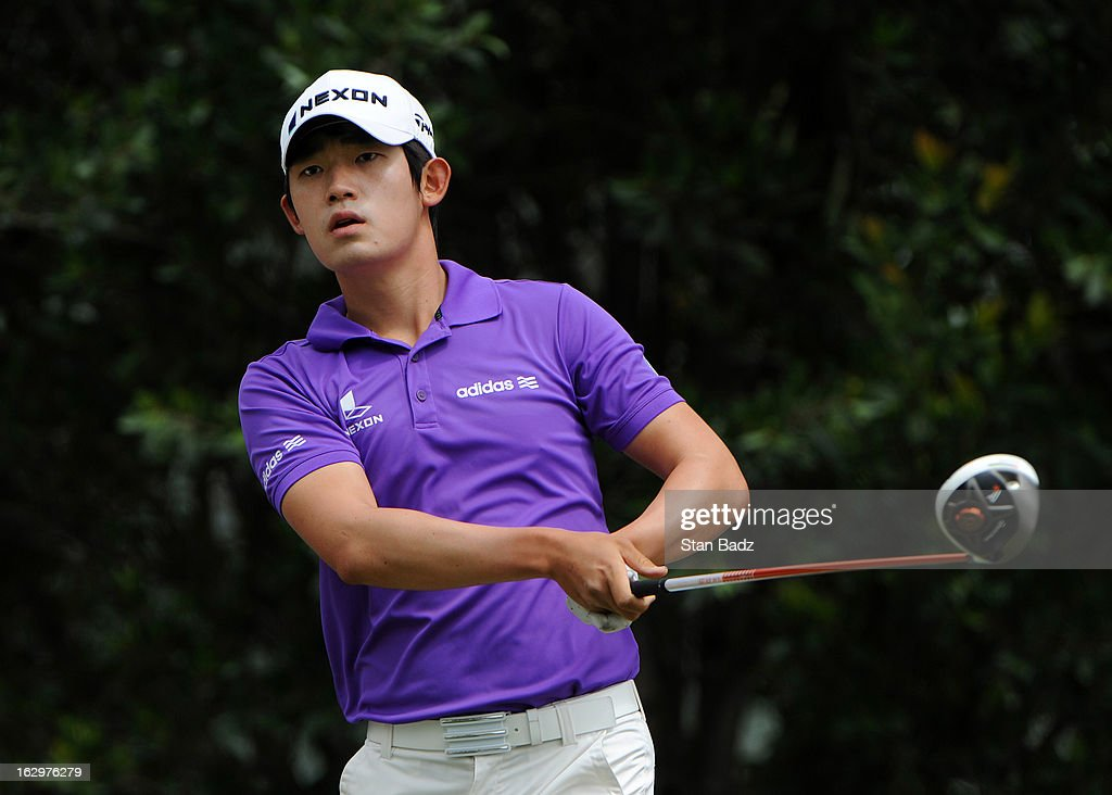 Bio Kim of South Korea watches his drive on the eighth hole during the third round of the Colombia Championship at Country Club de Bogota on March 2, 2013 in Bogota, Colombia.